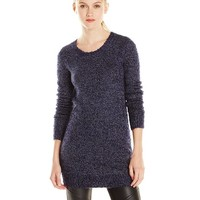BCBGeneration Women's Two-Tone Boucle Textured Crew Neck Tunic Sweater