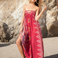 Indah Flamingo maxi dress in red endek