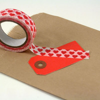 Washi Tape Hearts Red Paper Tape Full Roll Fun