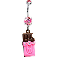 Pink Sweet Chocolate Bar Belly Ring | Body Candy Body Jewelry