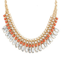Crystal Clear Bib Necklace in Coral