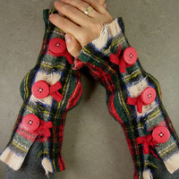 plaid scottish tartan arm warmers fingerless mittens fingerless gloves arm by piabarile