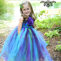 Midnight Peacock Tutu Dress.... Braided Sash.... Satin Hair Bow.. Size newborn-5t