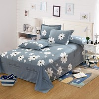 200x230cm white flower Bed Sheet Cotton flat Sheet And Pillowcase twin full queen king size high quality princess 3pcs bed sets
