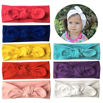 Qandsweet Baby Girl's Elastic Headbands Hair Accessories for Take Photos 8 Pack Solid Bunny Ears