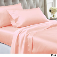 4-piece Solid Satin Sheet Set   Overstock.com Shopping - The Best Deals on Sheets