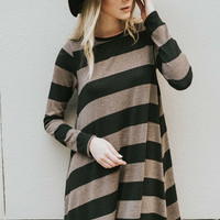 Striped Hacci Shift Dress