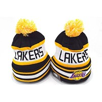 Perfect Los Angeles Lakers Women Men Embroidery Beanies Winter Knit Hat Cap