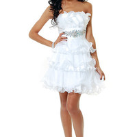 White Rosey Posey Strapless Cocktail Dress - Unique Vintage - Cocktail, Pinup, Holiday & Prom Dresses.