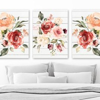 WATERCOLOR Flower Wall Art, Watercolor Boho Bedroom Art Pictures, Floral Watercolor Wall Decor, Flower Wood Artwork Set of 3 Canvas or Print