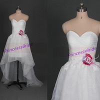 2014 white tulle wedding dresses with flower,unique high low gowns for wedding party,cheap sweetheart bridal dress hot.