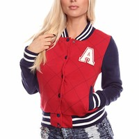 RED NAVY QUILTED LONG-SLEEVED STRIPED LETTER A VARSITY JACKET