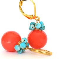 Beach Dangle Earrings Orange Coral and Turquoise by WrennJewelry