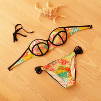 Bandage Swimsuit  Crochet Bathing Suit Floral Print Bikini Set