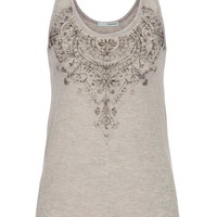 Graphic Tank With Beads - Beige