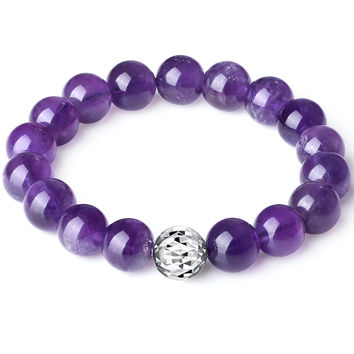 Sterling Silver Bead and Amethyst Stretch Bracelet