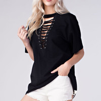 Front lace up tee