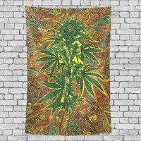 Cannabis  Vintage Marijuana Tapestry Vertical Wall Hanging Psychedelic Wall Decor Art for Living Room Bedroom Dorm