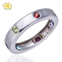 HT 100% Natural Multi-color Gemstones Solid 925 Sterling Silver Band Ring Fine Jewelry Peridot Garnet Iolite Blue Topaz HuTang