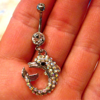 Sale Navel Ring Belly Button Ring Clear & AB Crystal Dolphin Rhinestones Barbell Naval Bellyring