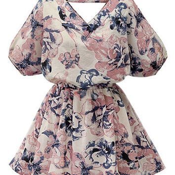 Pink V Neck Lantern Sleeve Florals Dress
