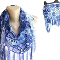Moms gift blue women scarf crochet scarf Summer scarves COTTON spring fashion beach fashion cover up pareo for her for mom senoaccessory