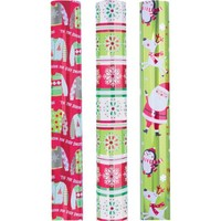 "Holiday Time 30"" 3Rl Reversible Foil Gift Wrap, Sweater - Walmart.com"