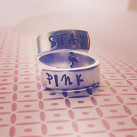 stay pink/ flamingo   inside spiral ring