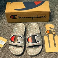 Champion Hot Sale Women Men Fashion Casual Full Logo Sandal Slipper Shoes Grey