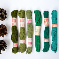 Embroidery Thread Floss / Shades of Green Soviet Vintage New Old Stock Cotton Skeins / Needlepoint Opaque Lot of Woodland Embroidery Threads