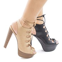 Betsey45 By Breckelle's, Corset Lace Up Sling Back Platform High Stacked Chunky Heels