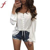 Summer Blouse Fashion Womens Loose Casual Off Shoulder Blue White Blouse blusas feminina ver o 2017 #LSN
