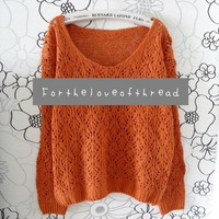 Orange knit sweater from For the Love of Thread