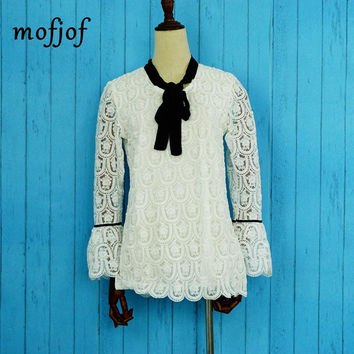 Flare sleeve white lace blouse with black bow womens tops and blouses
