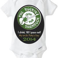 """Funny Baby Gift: Embellished Gerber Onesuit brand body suit – """"The Rockin' Shamrock Irish Pub"""" Baby's 1st St. Patrick's Day"""