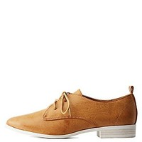 QUPID POINTED TOE LACE-UP OXFORDS