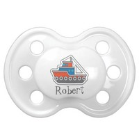 Personalized Red Gray and Blue Tugboat Little Boy Pacifier