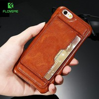 FLOVEME Vintage Leather Case For iPhone 6 6s Plus Case Card Slot Stand Holder Retro Phone Cases For iPhone 6 6s Plus Coque Cover
