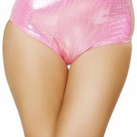 Sexy Hot Pink Pull Up Comfort Top Band High Rise Pin Up Metallic Retro Shorts