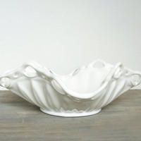 Vintage Milk Glass Bowl Open Lace Ruffled Edge by jacquierae