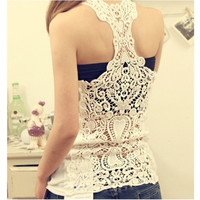 Candy colour Women Summer Basic Vest Cotton Lace Flower Lace Crochet Tank Tops Sexy Cami Sleeveless T-Shirt = 1932906308