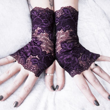 Aegis Lace Fingerless Gloves | Deep Dark Plum Aubergine Purple Floral | Gothic Wedding Gloves Bridal Lolita Fusion Arm Warmers Goth Eggplant
