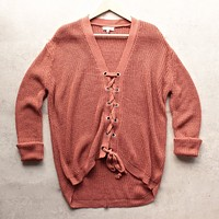 Lace Up Grommet Knit Sweater in Marsala