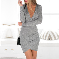 New Arrival 2015  Bodycon Backless Dresses Women Winter Autumn Hollow Out Grey Long Sleeve Slim Short Dress