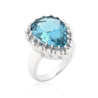 Stunning Aqua Pear Cut Cocktail Ring @ Inspired Silver