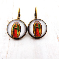 Mexican Guadalupe Virgin Mary Earrings
