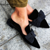 New Fashion Pointed Toe Velvet Women Big Bowtie Mules Shoes Flat Slippers Females Casual Shoes Woman Lady Sweet Slides Flats