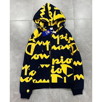 Champion Fashion New More Letter Print Hooded Long Sleeve Sweater Coat
