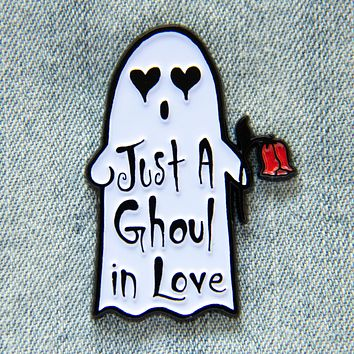 """""""Just a Ghoul in Love"""" Ghost Enamel Pin"""