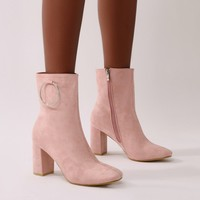 Robbi Metal Ring Ankle Boots in Pink Faux Suede